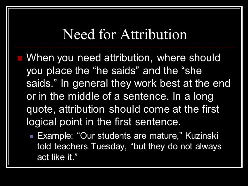 Need for Attribution