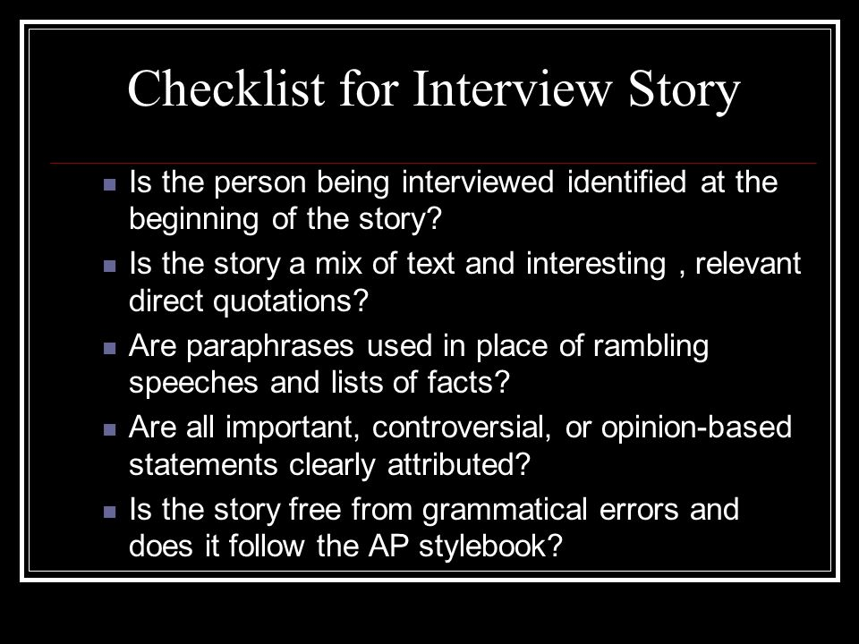 Checklist for Interview Story