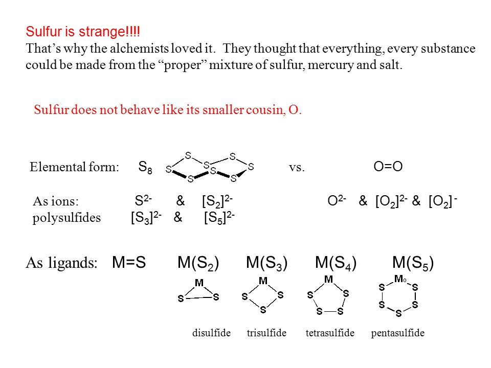 As ligands: M=S M(S2) M(S3) M(S4) M(S5)