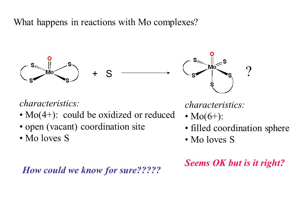 What happens in reactions with Mo complexes + S characteristics: