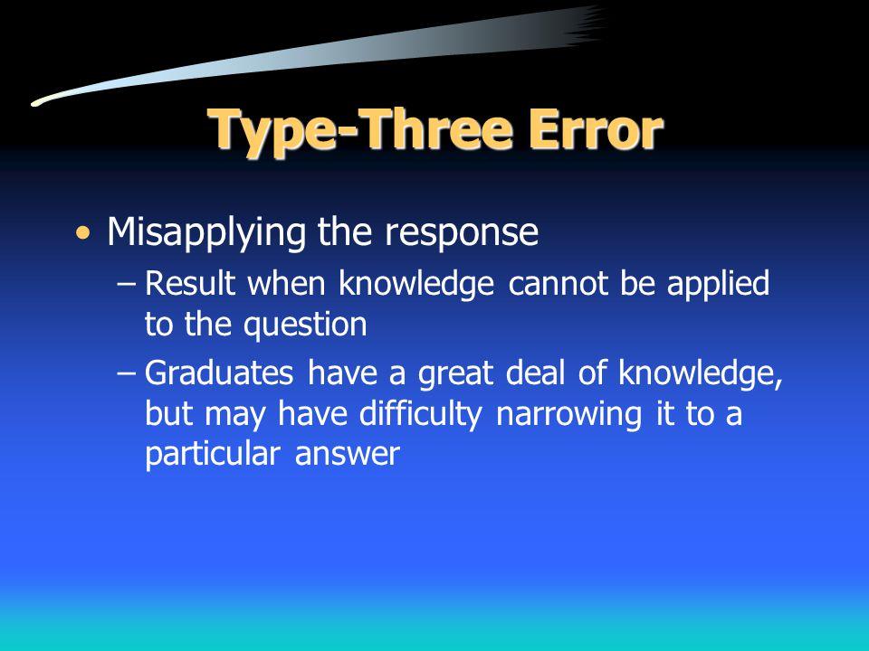 Type-Three Error Misapplying the response