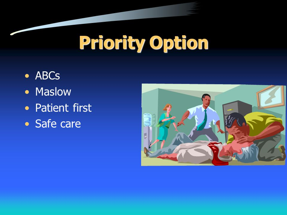Priority Option ABCs Maslow Patient first Safe care