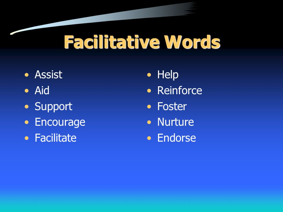 Facilitative Words Assist Aid Support Encourage Facilitate Help