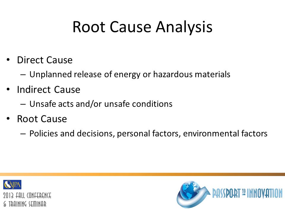 Root Cause Analysis Direct Cause Indirect Cause Root Cause