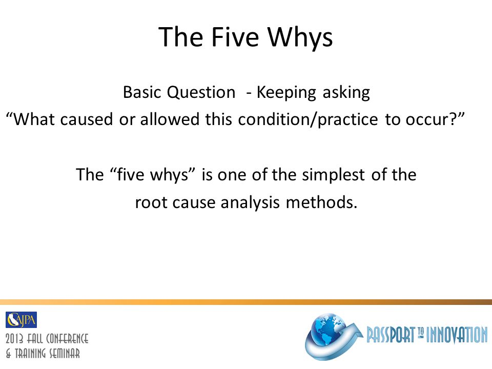 The Five Whys Basic Question - Keeping asking