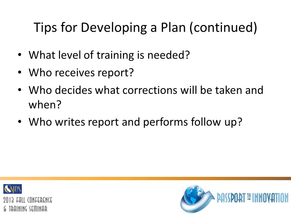 Tips for Developing a Plan (continued)