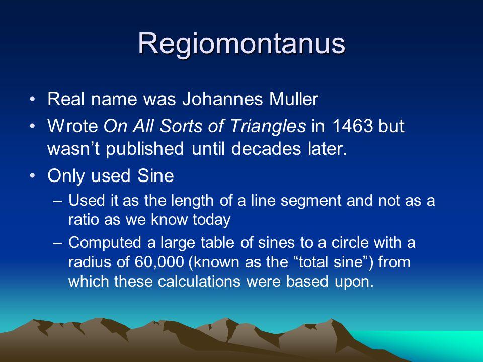 Regiomontanus Real name was Johannes Muller