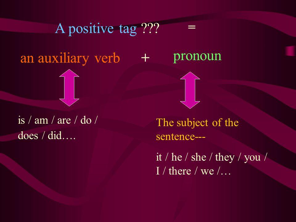 A positive tag pronoun an auxiliary verb + =