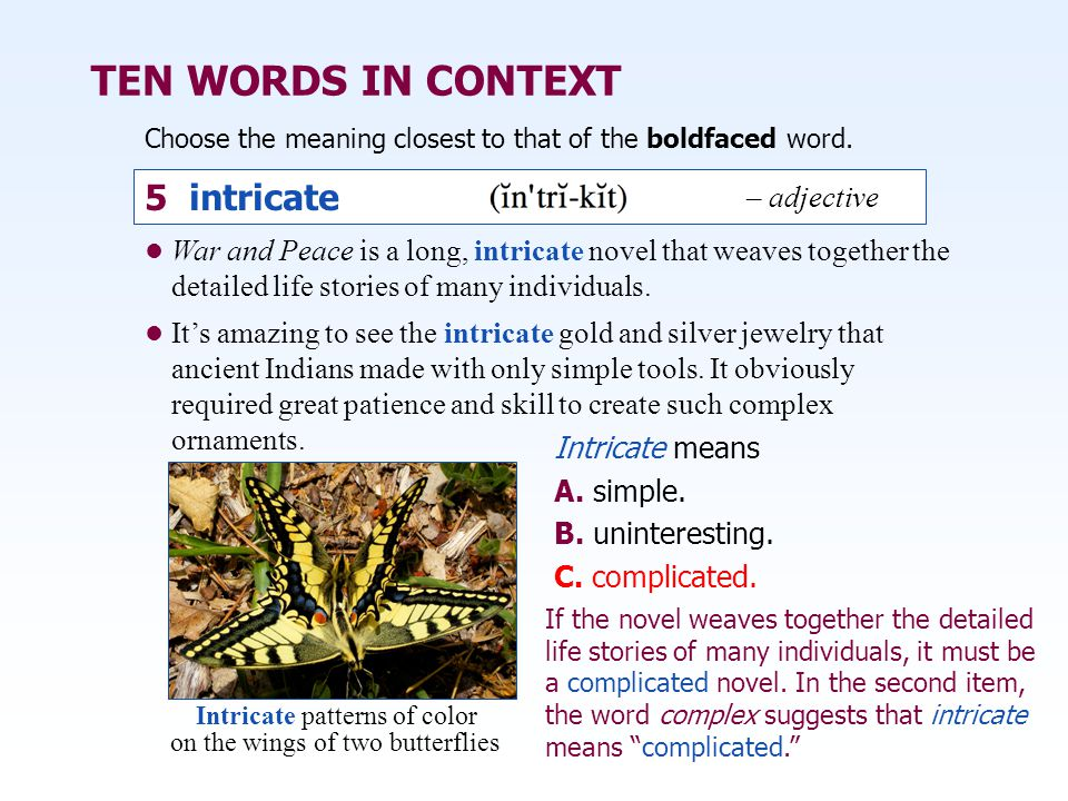 TEN WORDS IN CONTEXT 5 intricate – adjective