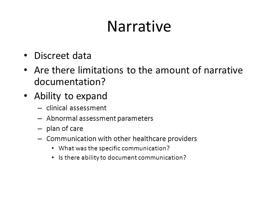 Narrative Discreet data
