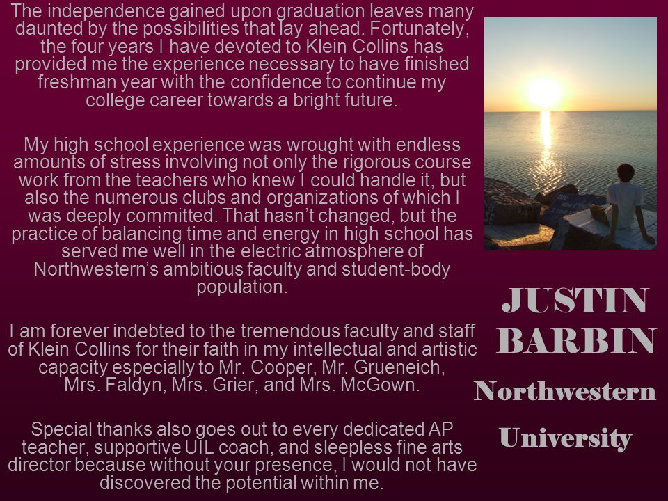 JUSTIN BARBIN Northwestern University