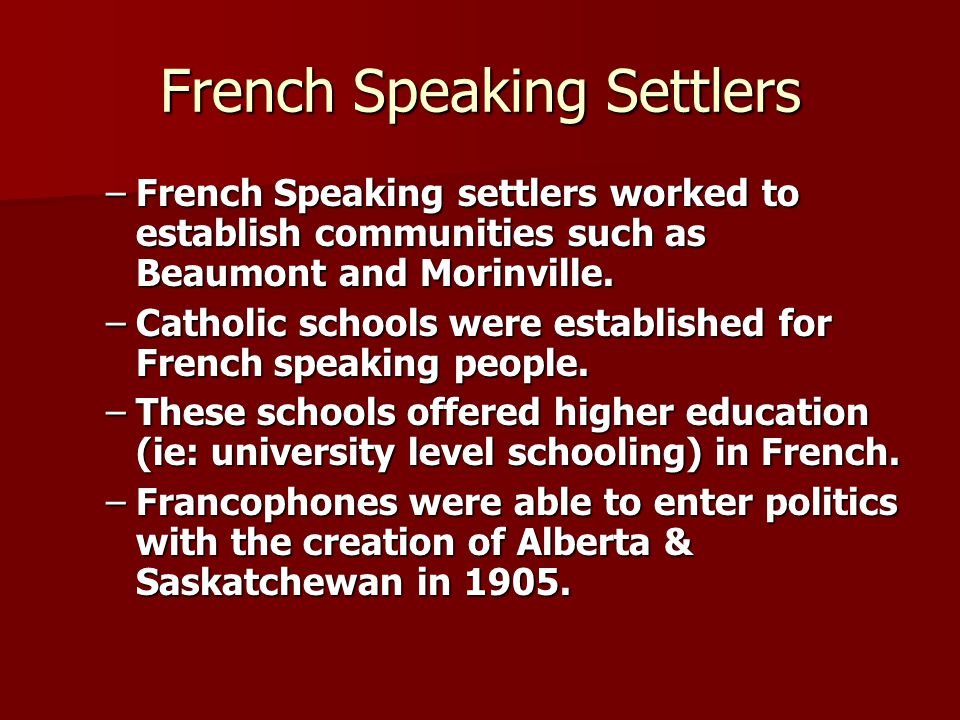 French Speaking Settlers