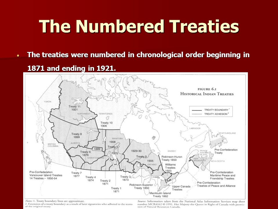The Numbered Treaties The treaties were numbered in chronological order beginning in 1871 and ending in 1921.