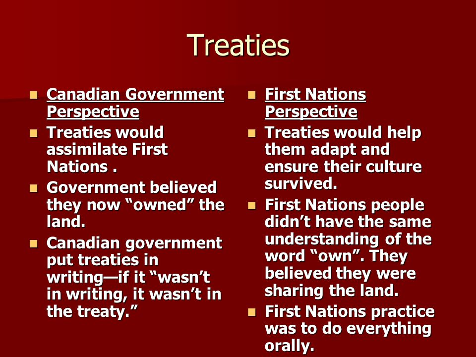 Treaties Canadian Government Perspective