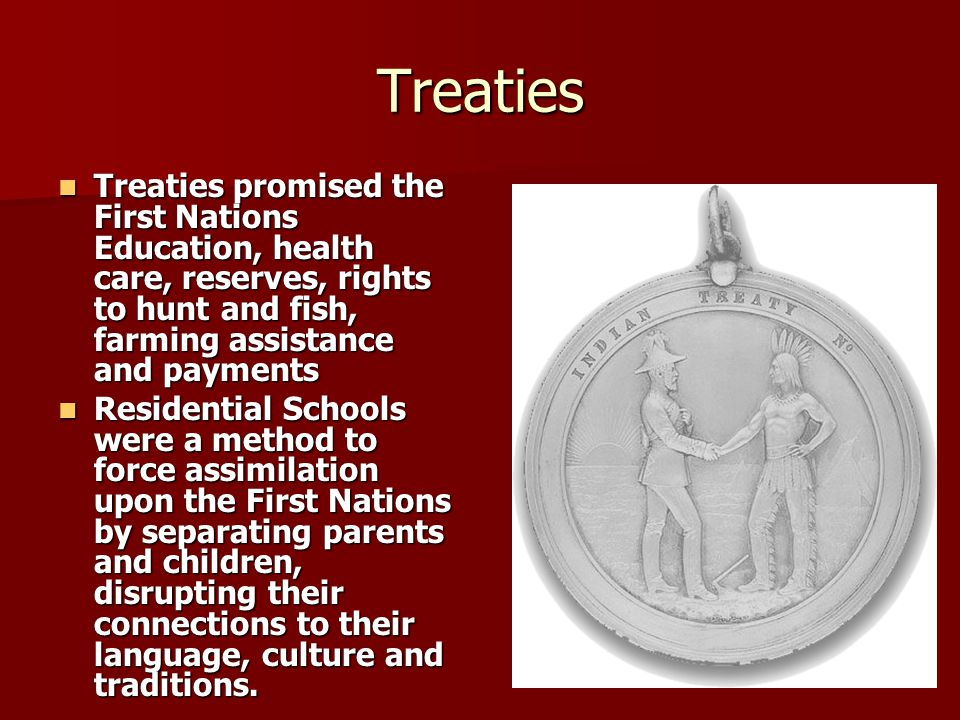 Treaties Treaties promised the First Nations Education, health care, reserves, rights to hunt and fish, farming assistance and payments.