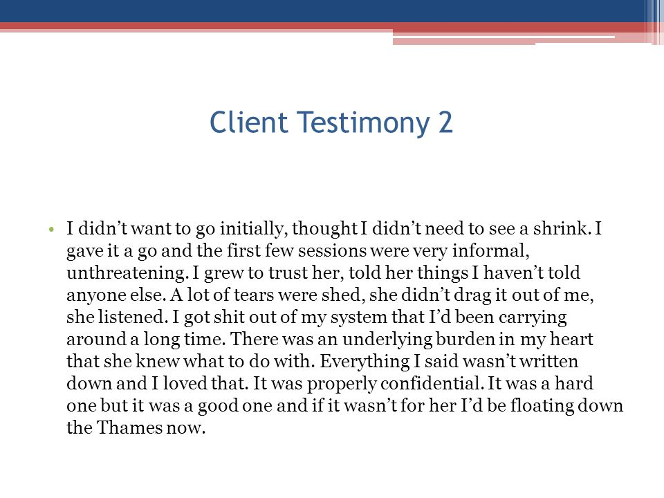 Client Testimony 2