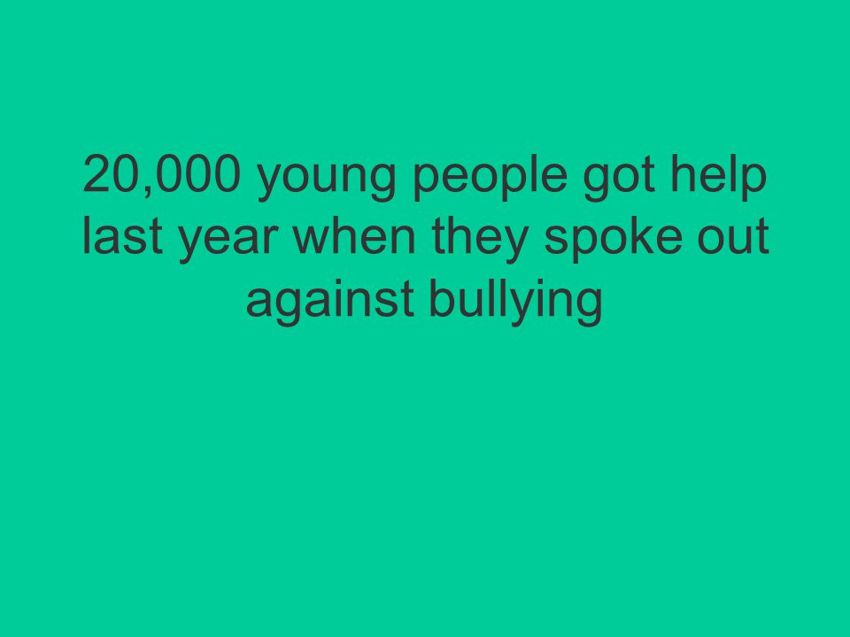 20,000 young people got help last year when they spoke out against bullying