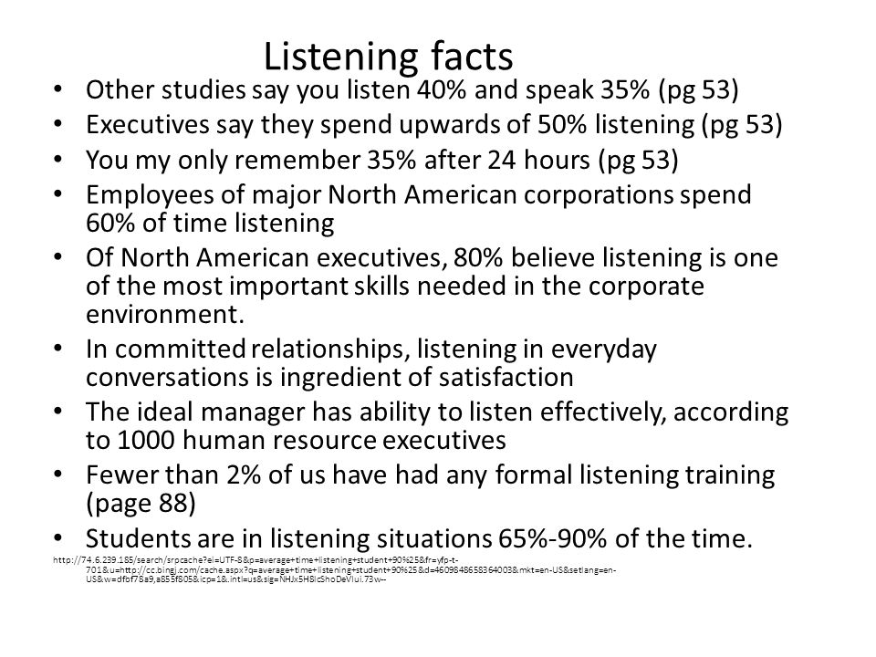 Listening facts Other studies say you listen 40% and speak 35% (pg 53)