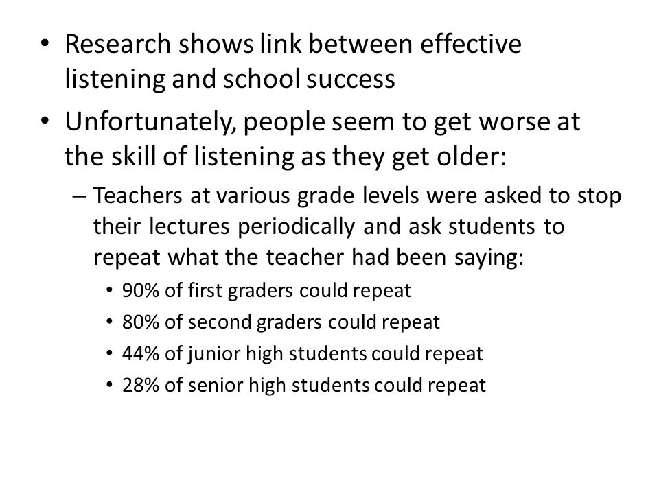 Research shows link between effective listening and school success