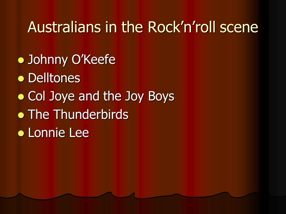 Australians in the Rock'n'roll scene