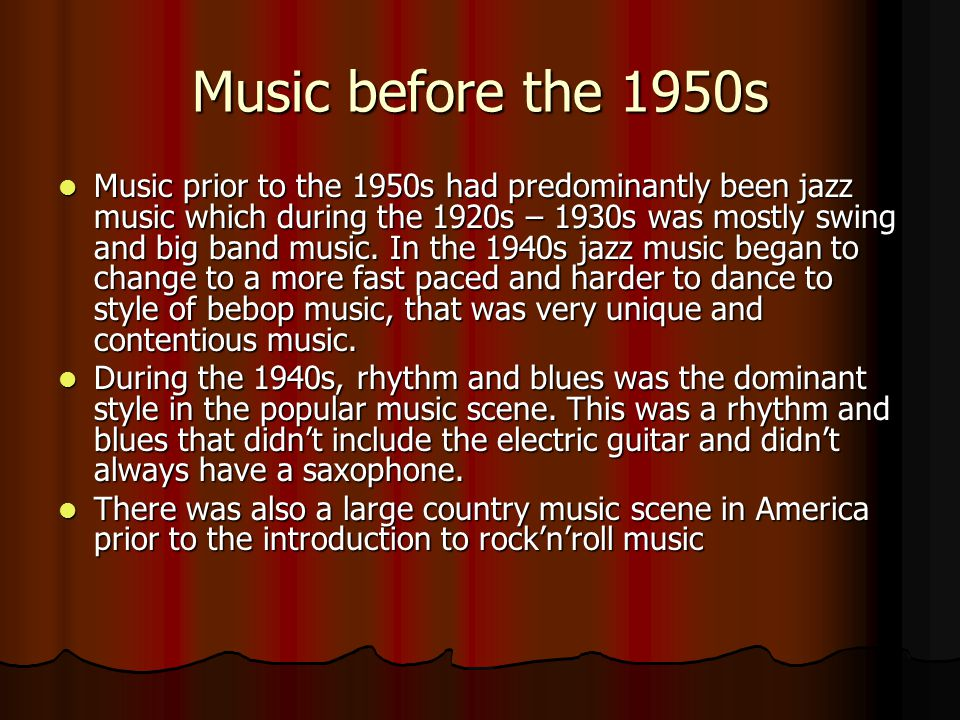 Music before the 1950s