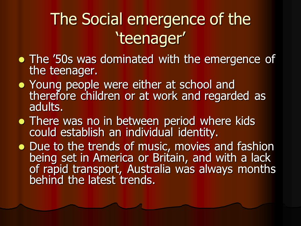 The Social emergence of the 'teenager'
