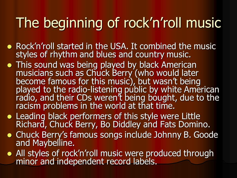 The beginning of rock'n'roll music