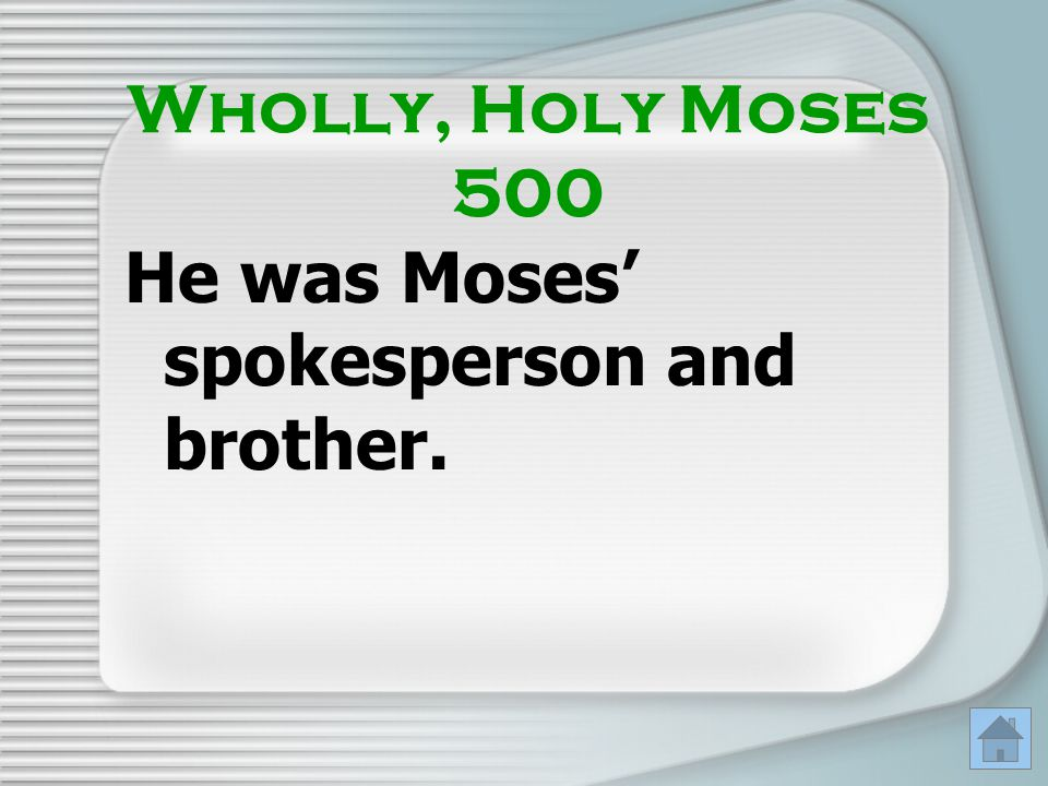 He was Moses' spokesperson and brother.