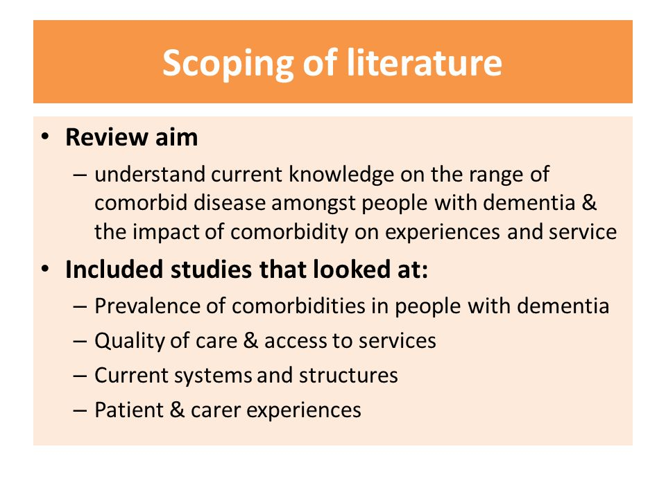 Scoping of literature Review aim Included studies that looked at: