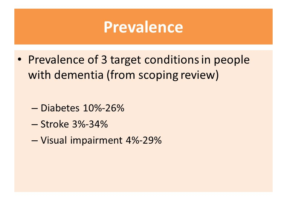 Prevalence Prevalence of 3 target conditions in people with dementia (from scoping review) Diabetes 10%-26%
