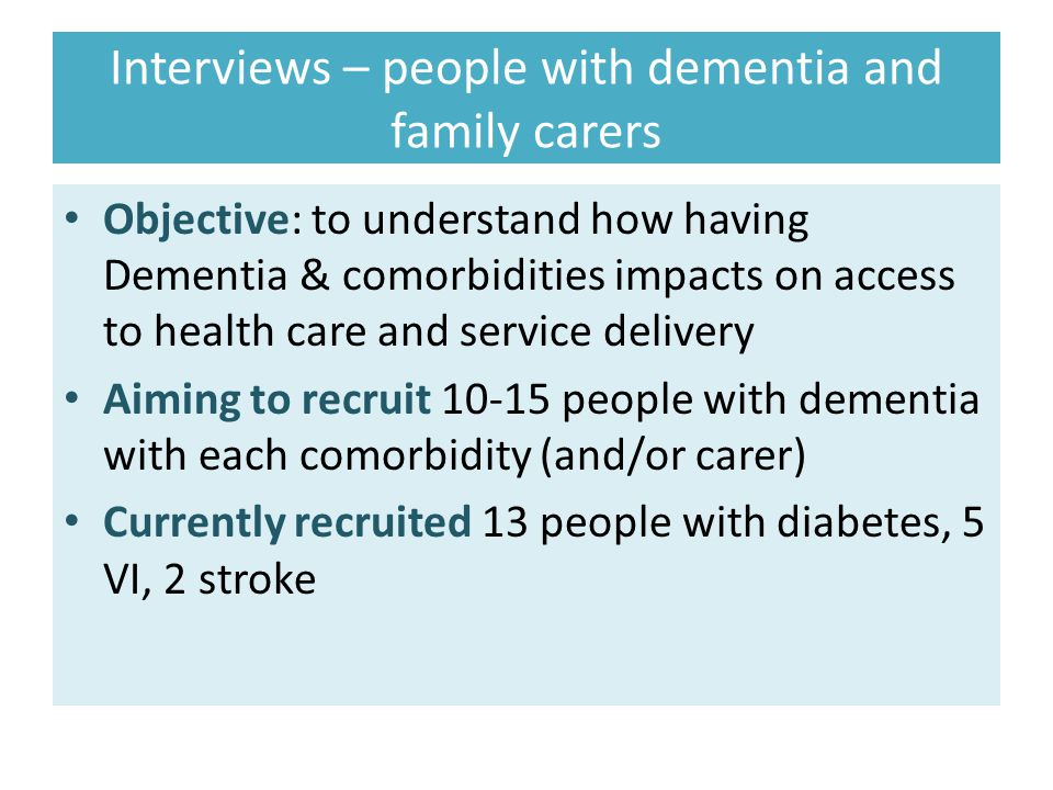 Interviews – people with dementia and family carers
