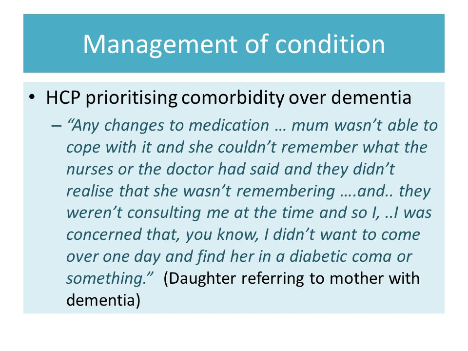 Management of condition