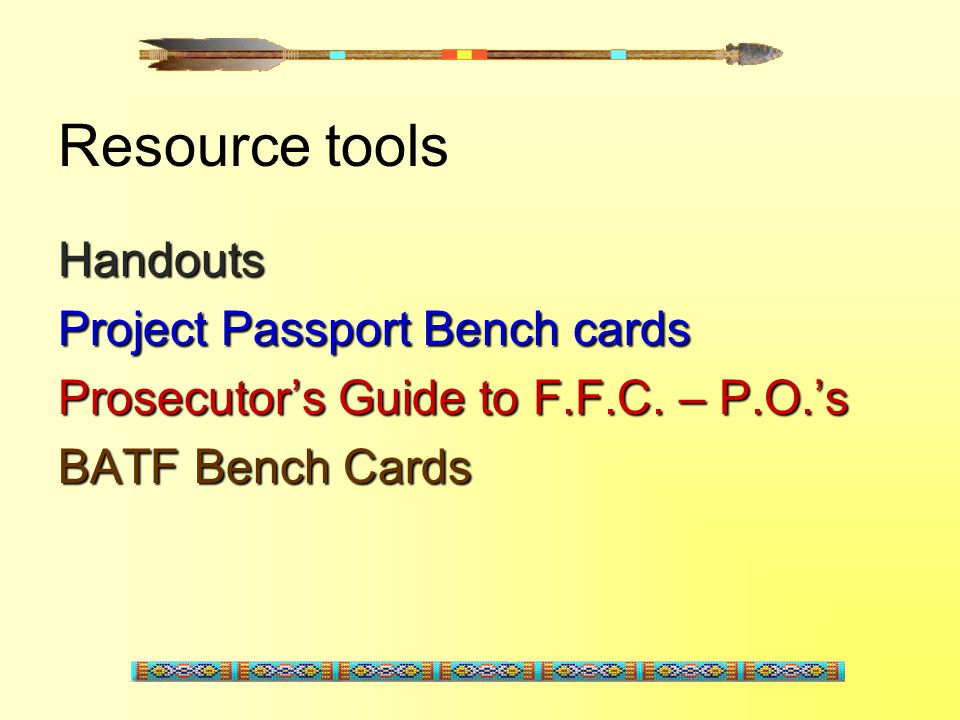 Resource tools Handouts Project Passport Bench cards