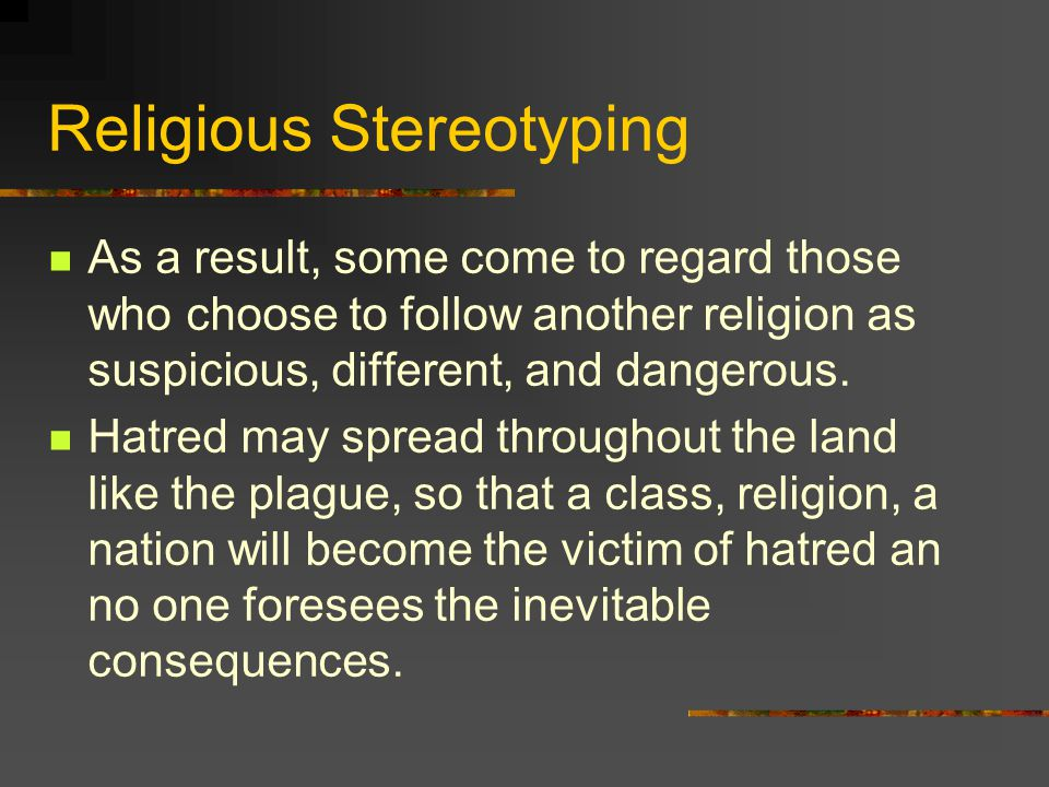 Religious Stereotyping