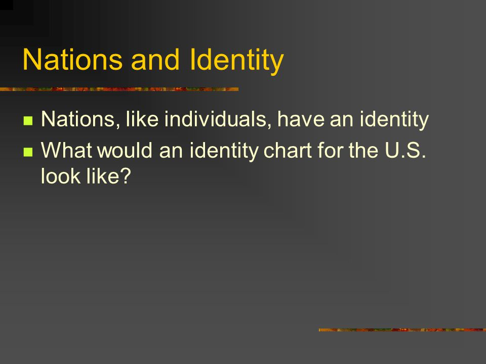 Nations and Identity Nations, like individuals, have an identity