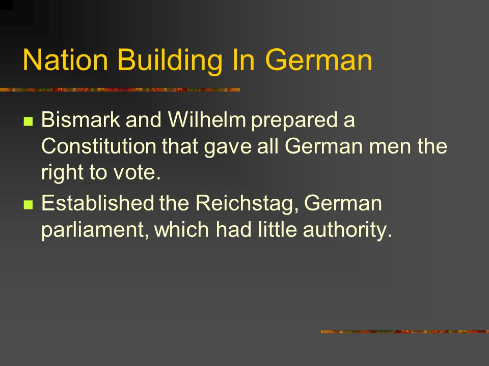 Nation Building In German