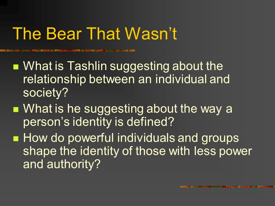 The Bear That Wasn't What is Tashlin suggesting about the relationship between an individual and society