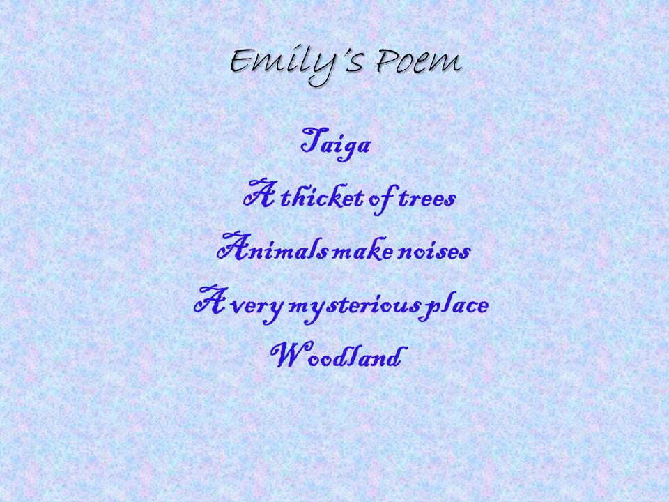 Emily's Poem Taiga A thicket of trees Animals make noises A very mysterious place Woodland