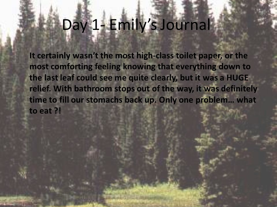 Day 1- Emily's Journal