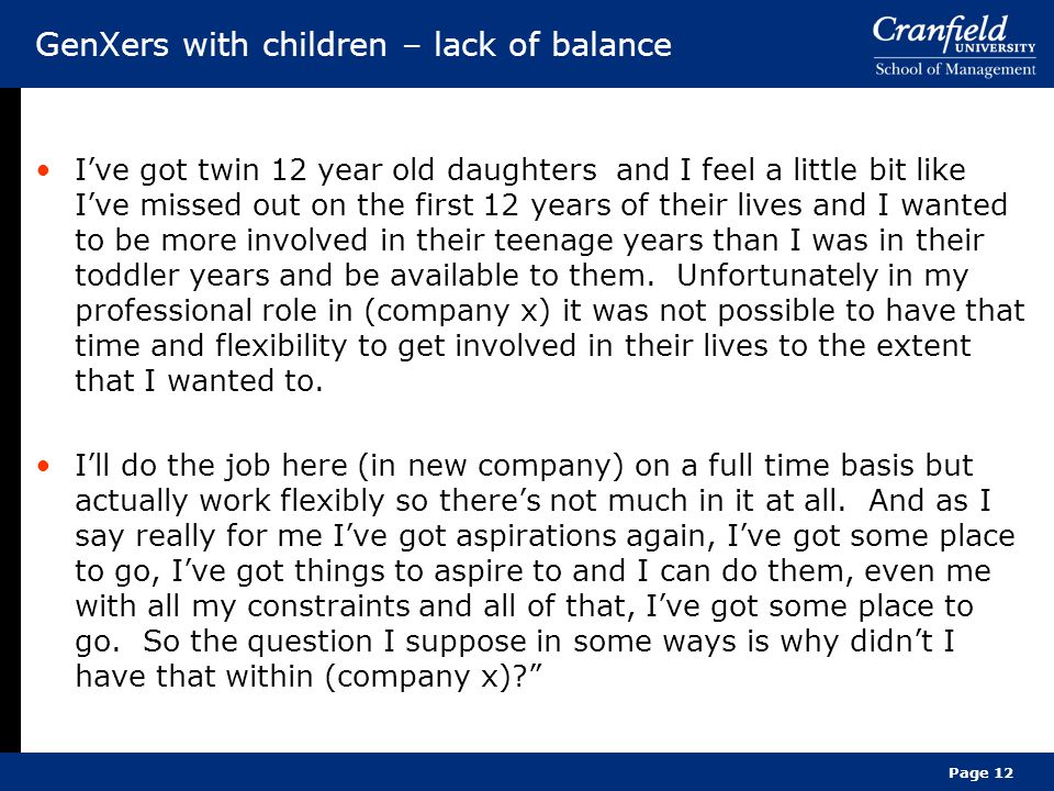 GenXers with children – lack of balance
