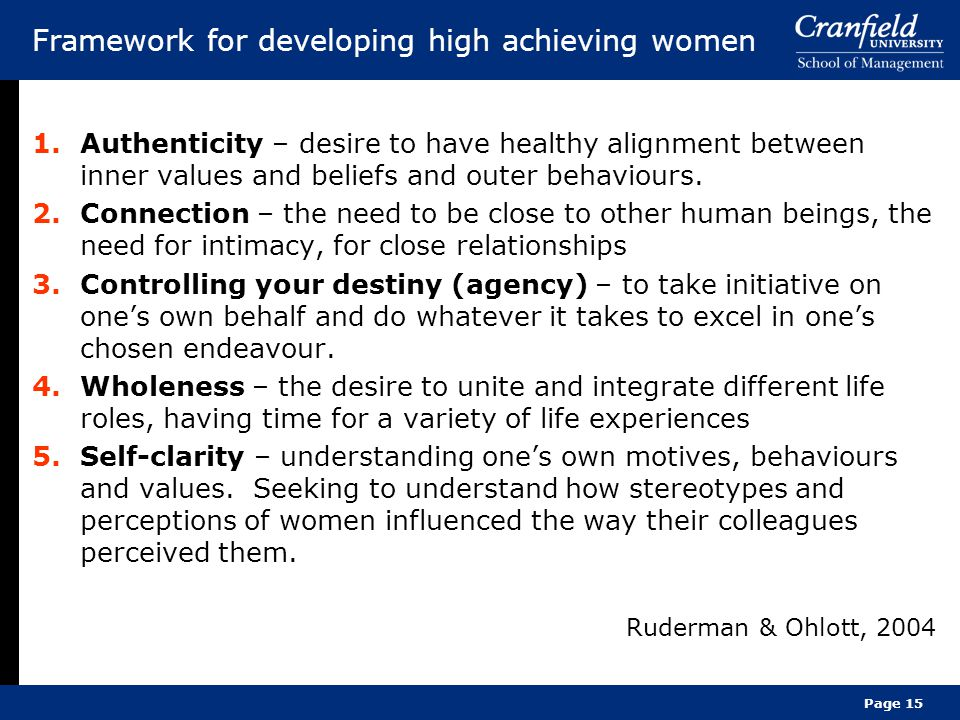 Framework for developing high achieving women