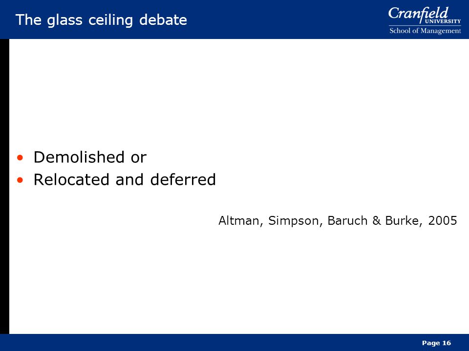 The glass ceiling debate