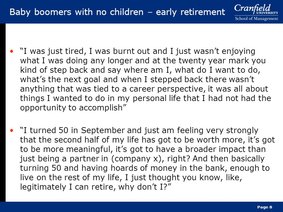Baby boomers with no children – early retirement