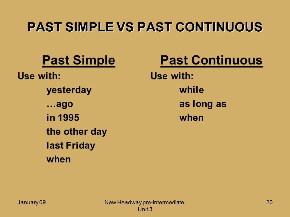 PAST SIMPLE VS PAST CONTINUOUS