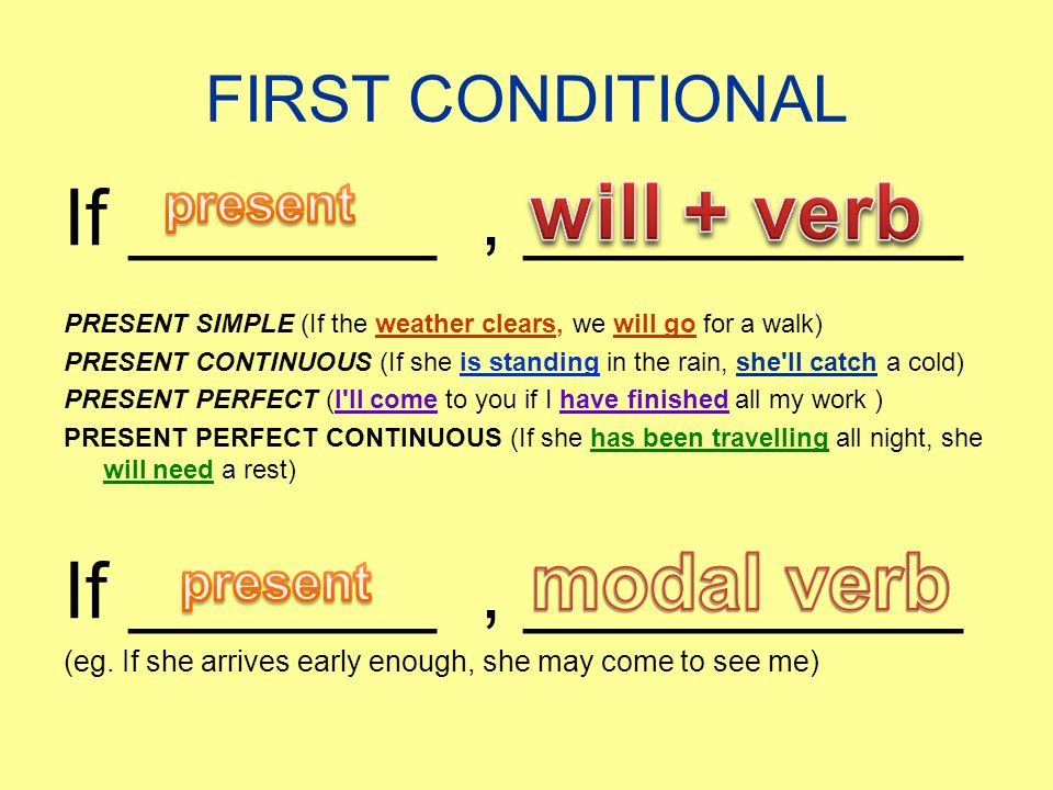 will + verb If _______ , __________ modal verb FIRST CONDITIONAL