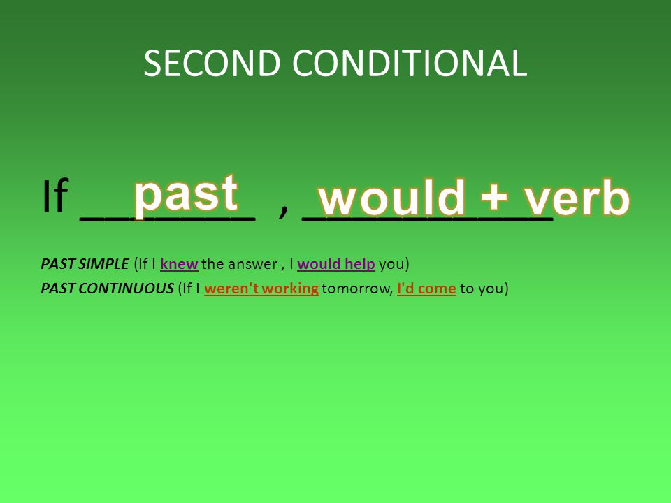past If _______ , __________ would + verb SECOND CONDITIONAL