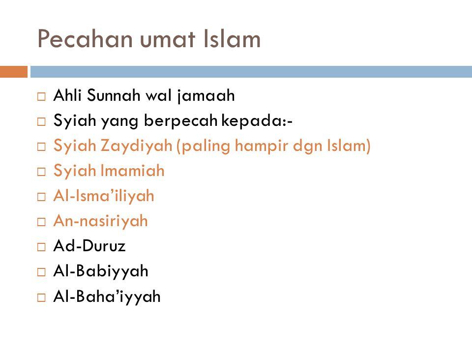Pecahan umat Islam Ahli Sunnah wal jamaah Syiah yang berpecah kepada:-