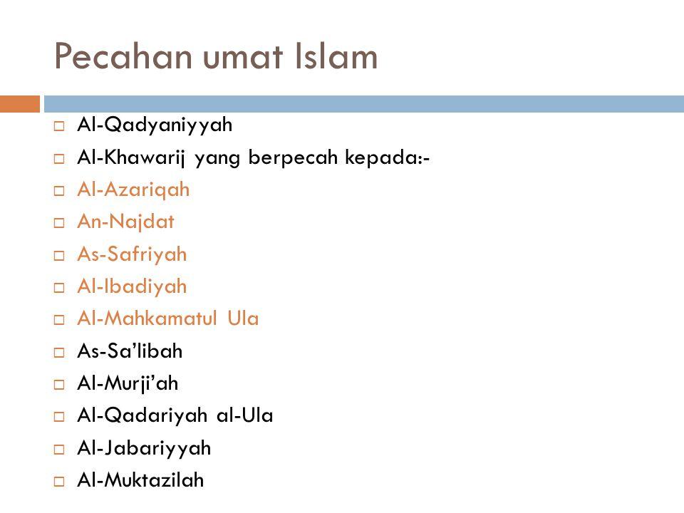 Pecahan umat Islam Al-Qadyaniyyah Al-Khawarij yang berpecah kepada:-