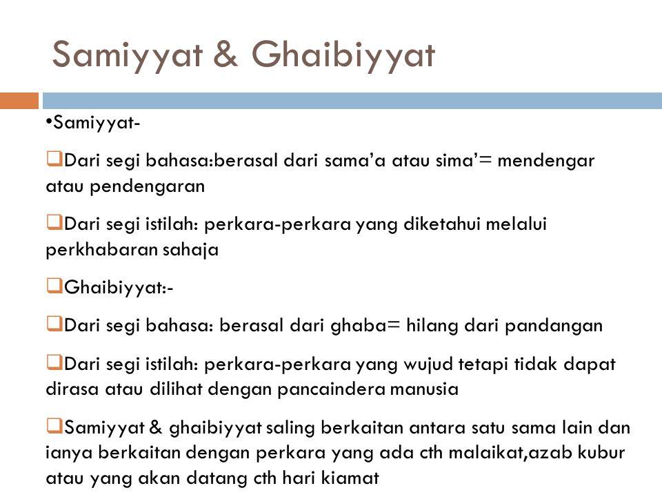Samiyyat & Ghaibiyyat Samiyyat-
