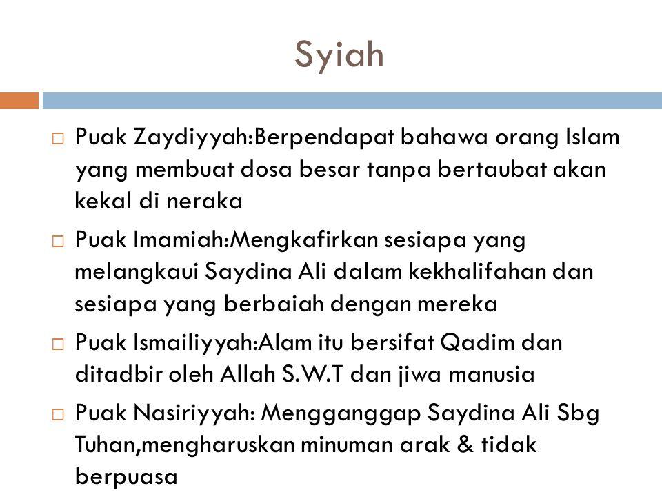 Syiah Puak Zaydiyyah:Berpendapat bahawa orang Islam yang membuat dosa besar tanpa bertaubat akan kekal di neraka.
